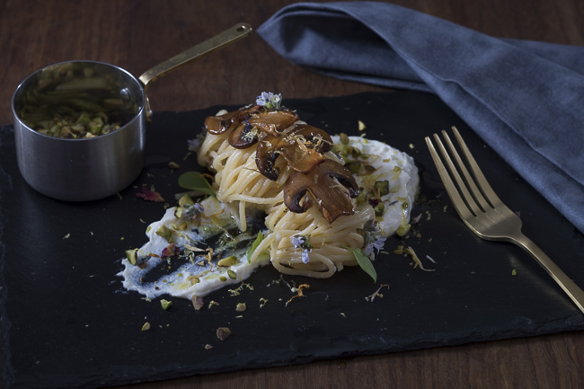Lemoncello Pasta Ricotta, with mushrooms & pistachios