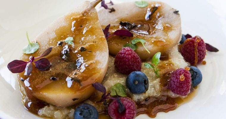 Honey Poached Pears with White Quinoa Porridge