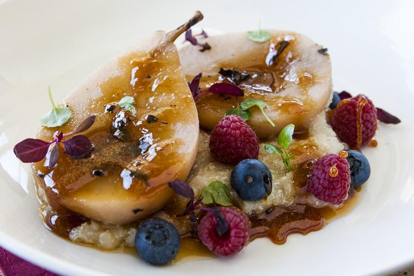 Honey Poached Pears with White Quinoa Porridge